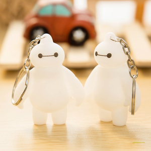 Big Hero 6 Movie Baymax Keychain Silicone Model Key Ring Cheap Anime Figure Pendant Key Chain Kids Toys For Boys Girls Gift(China (Mainland))