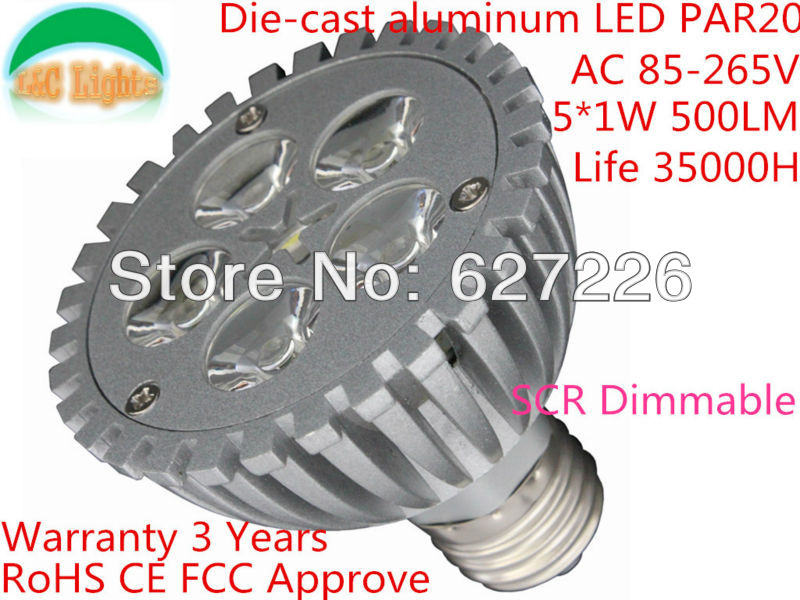 Dimmable 5W LED PAR20 Spotlights,E27 LED Bulbs 110/220V,led lighting Warranty 3 Years,Life 35000H,RoHS CEApprove(China (Mainland))