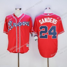 Cheap #24 Deion Sanders Jersey,Atlanta Braves Sanders Mens Baseball Jerseys,White Blue Gray Cream Red Embroidery S~4XL(China (Mainland))