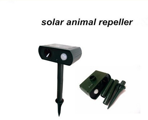 Solar powered ultrasonic animal repeller repellent dogs cats deer rat mice monkey mole 10pcs/lot hot selling free shipping(China (Mainland))