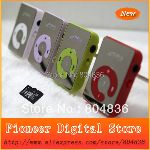 Hot Sell Christmas Gift Mini Mirror Clip Sport MP3 Music Player With Micro SD/TF Card Slot Free DHL OR EMS(China (Mainland))