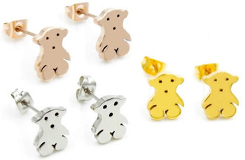 2014 новинка ювелирные изделия прекрасный шпилька нержавеющая сталь медвежонок серьги титана медвежонок серьги из розового золота