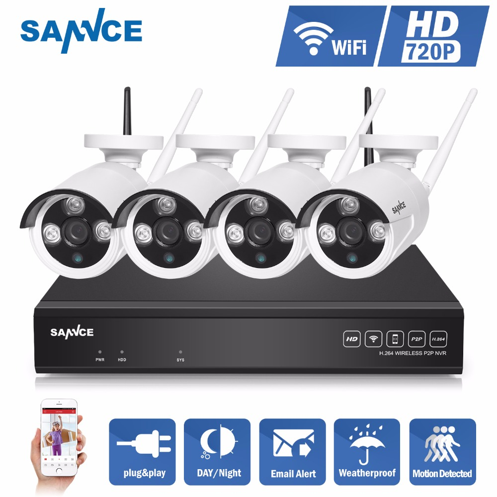 SANNCE 4CH IR HD Home Security Wireless NVR IP Camera System 720P CCTV Set Outdoor Wifi Cameras Video NVR Surveillance CCTV KIT(China (Mainland))