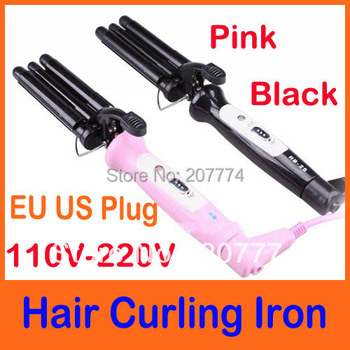 Free Shipping Hot Professional wand Hair Curling Iron ceramic Rollers Three Barrel 110-220V (EU US Plug) Black  Pink Color