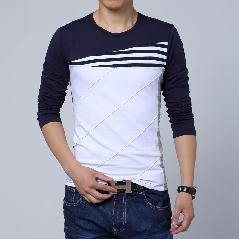 Casual Brand Long Sleeve T Shirt Men Striped Patchwork