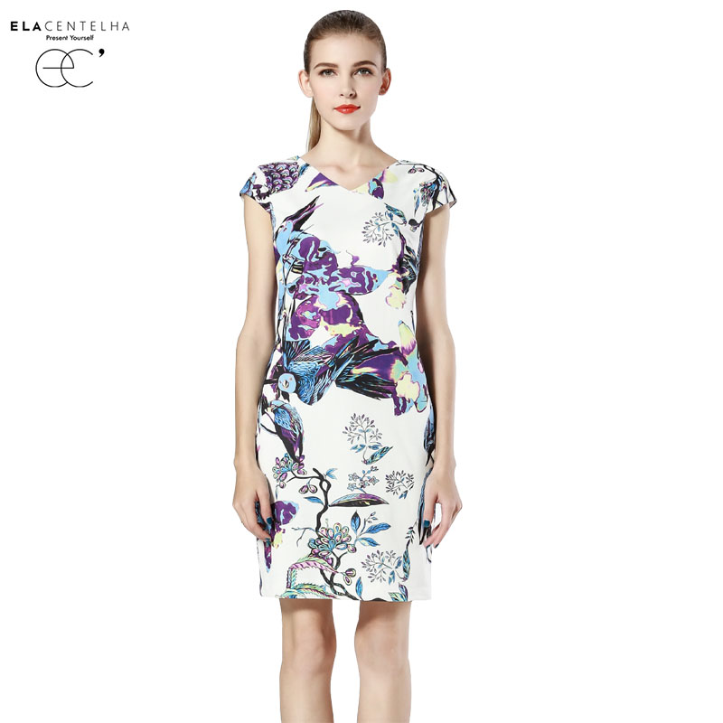 ELaCentelha Women Summer Dress High Top Quality Plant Animal Print Floral Straight Dress Round Neck Short Sleeve Dresses(China (Mainland))