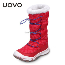 Girls Snow Boots Thicken Brand UOVO Warm Botas Mujer Casual Flat Fleece Winter Shoes New Leather Cloth Girls Snow Boots Thicken(China (Mainland))