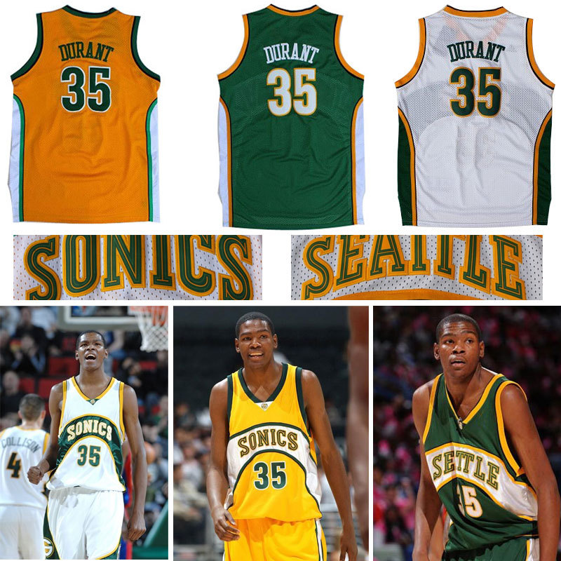 Top Quality ! Cheap Supersonics #35 Kevin Durant Throwback Basketball Jerseys Rev 30 Sports Jerseys Seattle Authentic Jerseys(China (Mainland))