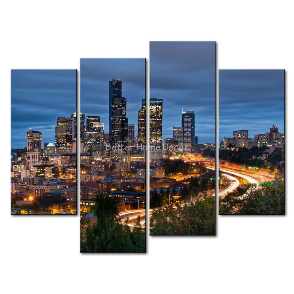 3 Piece Blue Wall Art Painting Seattle High-Rise Building Nice Nigght Scene Print On Canvas The Picture City 4 5 Pictures(China (Mainland))