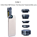6 in 1 LED Lighting 185 Fisheye +0.65X Wide Angle+ Macro lenses Mobile Phone Lenses Kit Universal Clip Fish Eye Camera Lens