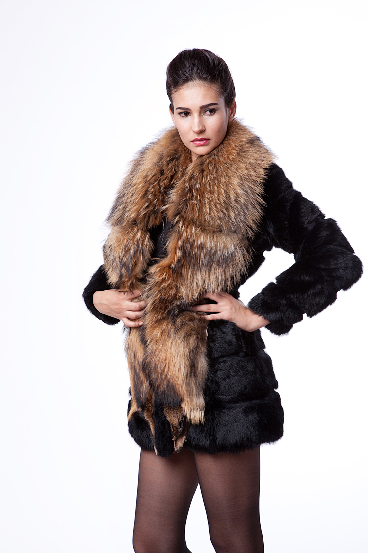 Фотография Free Shipping 2013 New winter Female Faux Raccoon fur collar Artificial Rabbit Fur Slim Outerwear Coat Full S,M,L,XL,XXL D2077