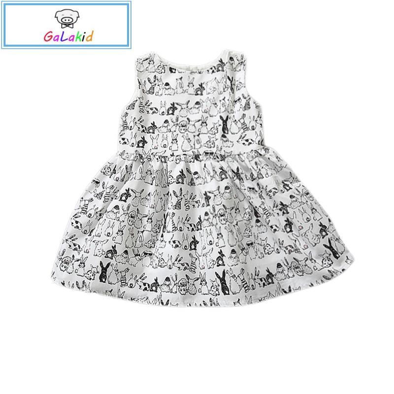 Baby Girl Sleeveless Cartoon Dress Infant White Bunny Rabbit Print Ball Gown Tutu Dress Casual Kids Easter Clothes CA315(China (Mainland))
