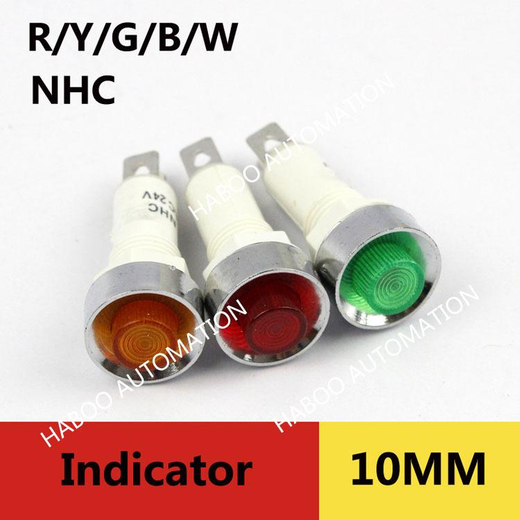 100pcs/lot 12v mini led indicator lights dia.10mm signal indicator 12V 24V 220V red ,green yellow color 12V 24V 220V<br><br>Aliexpress