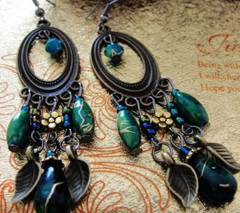 Fashion  peacock green women's vintage alloy earrings FE-001