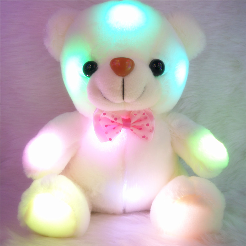 J121 Kids Favorites!New Arrival 20cm Lovely Soft LED Colorful Glowing Teddy Bear Stuffed Plush Toy Gifts For Birthday(China (Mainland))