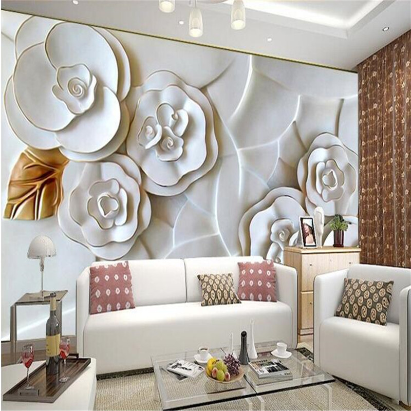 Custom photo wallpaper embossed wall paper painting modern for Paredes 3d medellin