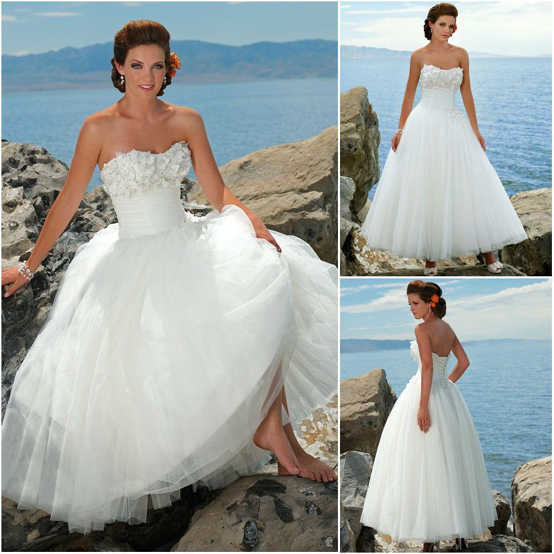 W0238 strapless empire low back corset tulle white short for Beach wedding dress low back