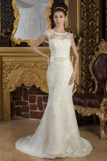 lace wedding dress with Short sleeves Floor Length,Scoop Court Train elegant wedding dresses