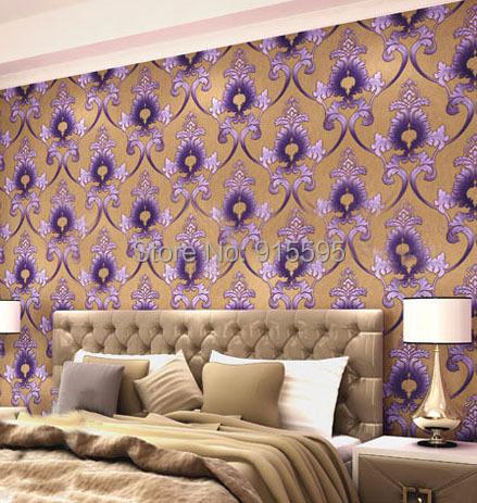 European Damascus stereoscopic 3D non-woven wallpaper embossed purple bedroom living room TV background wallpaper