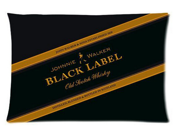 Johnnie Walker Black Label Custom Rectangle Zippered Pillowcase 35x60cm (Twin sides) Free Shipping U7-73(China (Mainland))