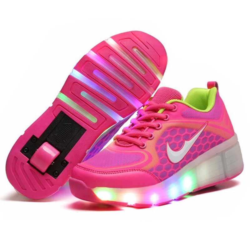 New 2016 Child Wheely's Jazzy LED Light Heelys Roller Skate Shoes For Children Kids Junior Girls Boys Sneakers With Wheels 81(China (Mainland))