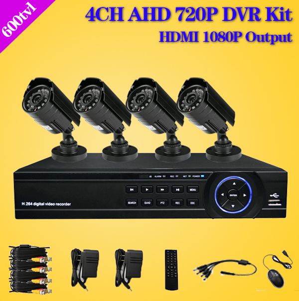 CCTV Security Camera System 4CH AHD-M 720P DVR 600TVL Outdoor waterproof Camera DIY Kit Video Surveillance System AHD 4 channel