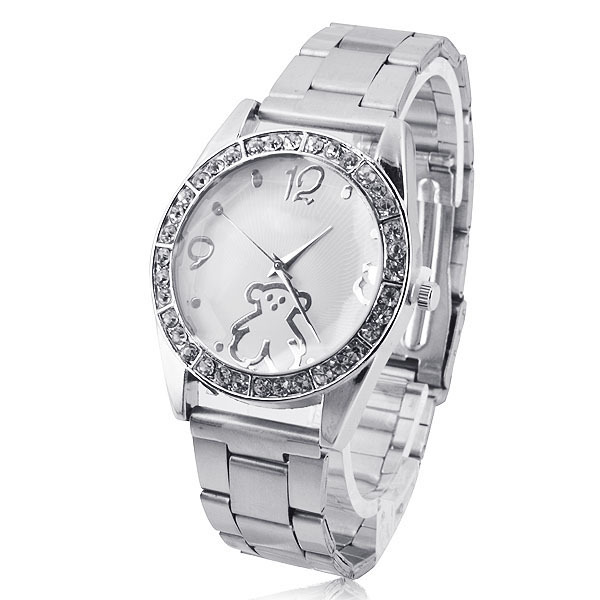New Arrival Teddy Bear Stainless Steel Watch Fashion Casual Women Rhinestone Watches Excellent Quality,FREE SHIPPING(China (Mainland))