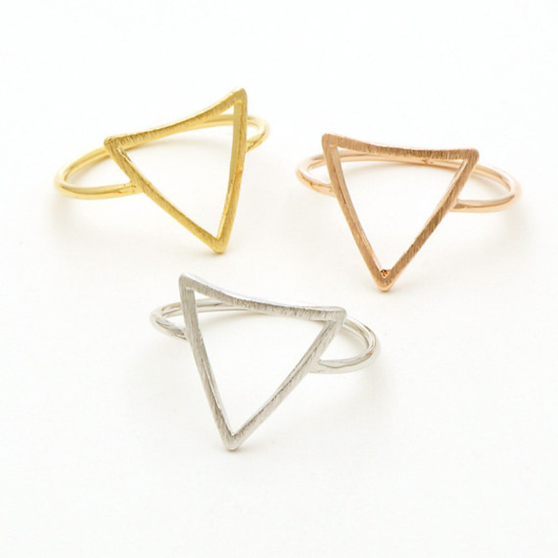 Geometric tiny gold silver plated triangle rings for women midi ring men jewelry bague femme engagement ring(China (Mainland))