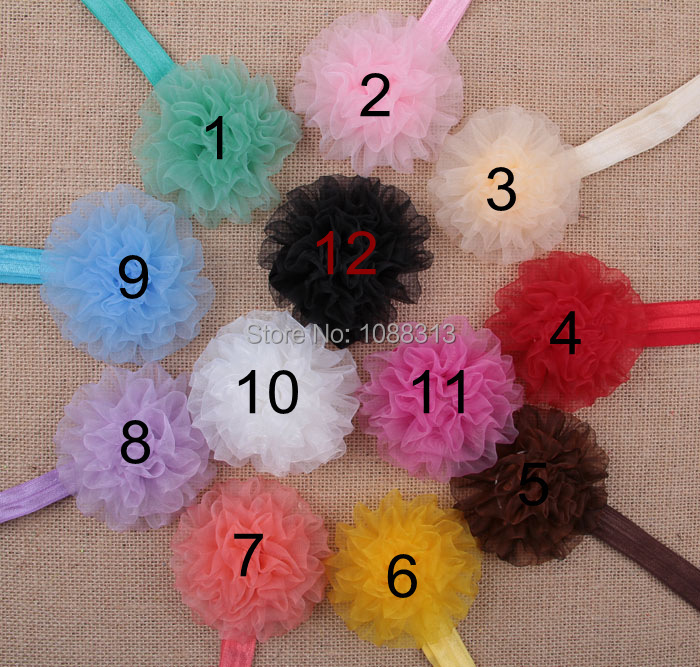 Free shipping chiffon carnation flower decoration elastic band infant baby summer headwear.20pcs mix toddler baby lace headband(China (Mainland))