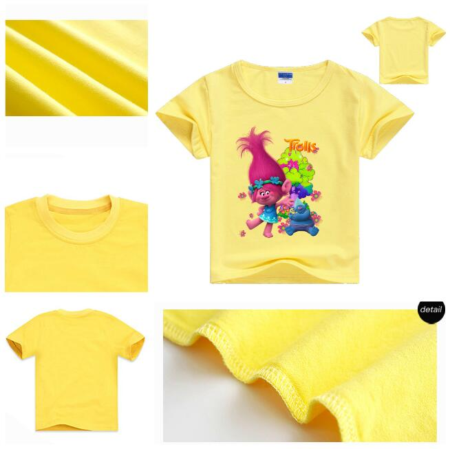 2017 Trolls T-shirts For student Girls Tops Summer Short Sleeve Shirt Children cartoon Raglan Shirts Super Cheap Clothing Monya(China (Mainland))