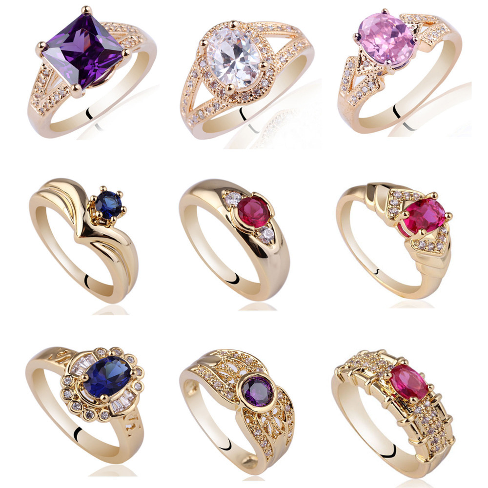 Mix Order  Lots 5 Pieces 925 Sterling Silver Ring  luxury womens rings  Pink Cz  Blue Sapphire Fashion Rings Wholesale MX6<br><br>Aliexpress