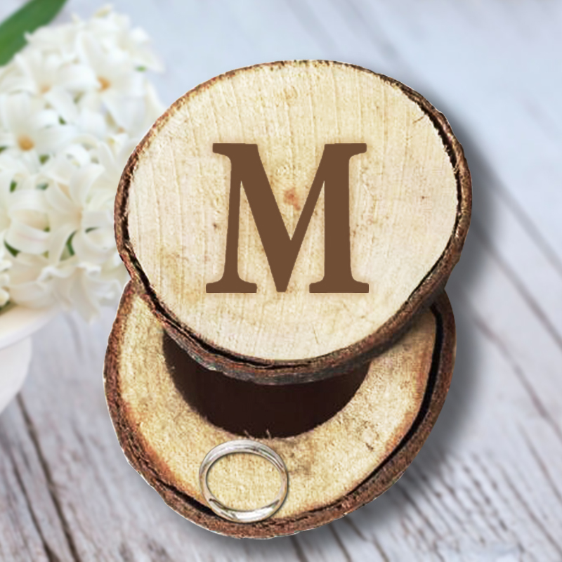 Personalized Round Rustic Wedding Wooden Ring Box Customized Letter Fashion Valentine's Day Gift Wood Anniversary Ring Box(China (Mainland))