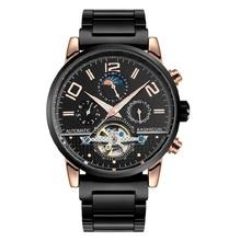 Ksd 2015 nueva caliente venta Men auto viento reloj mecánico automático de múltiples funciones de hombre de pulsera hombres causual moda relojes