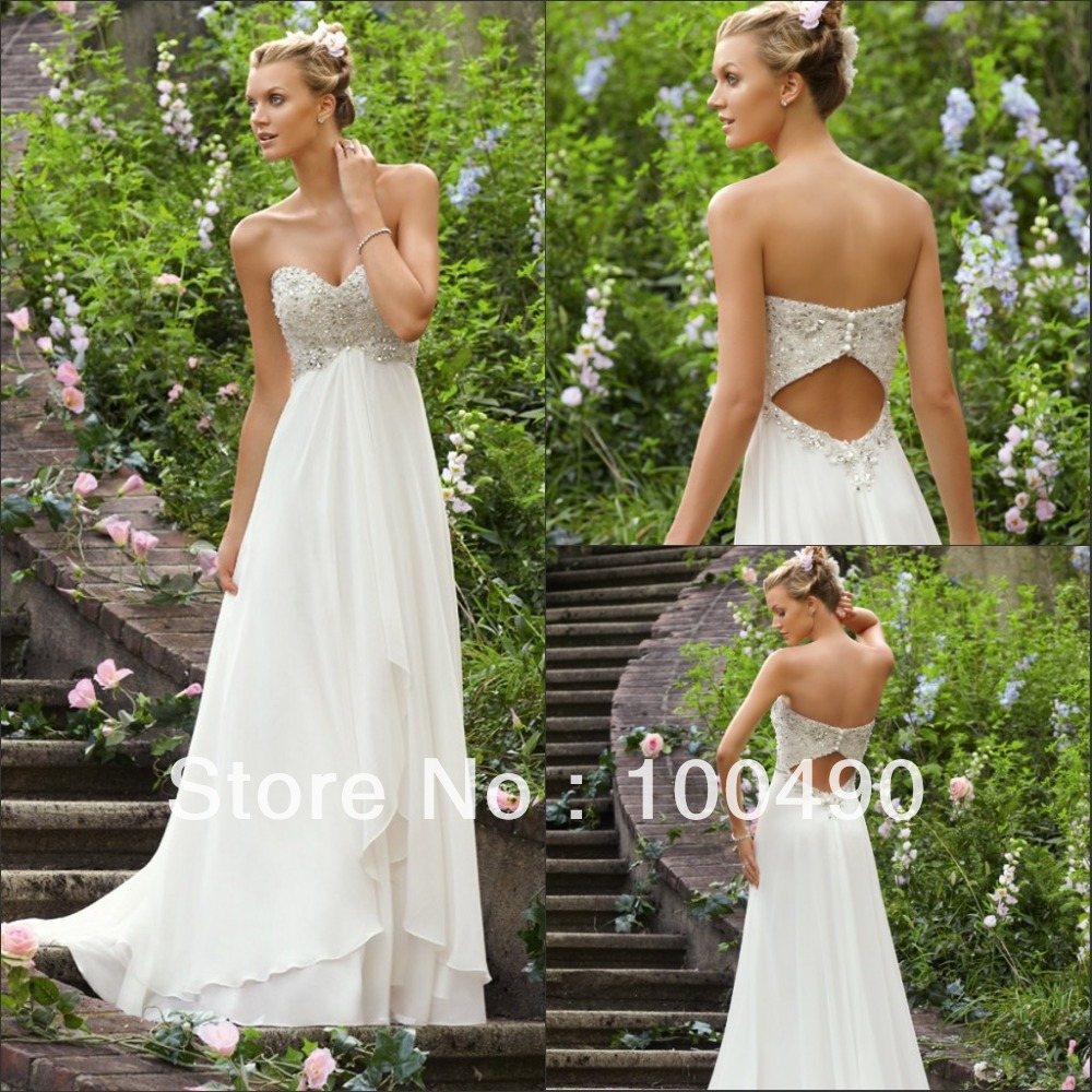 2015Greatful white Heavy beaded sparkly bodice open back beach wedding dresses brush train in floor length(China (Mainland))
