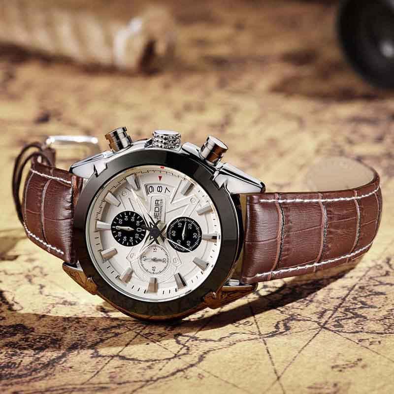 JEDIR Men Chronograph Function Sport Watch Men Luxury Brand Watches Genuine Leather Quartz Watch Men Watches relogio masculino