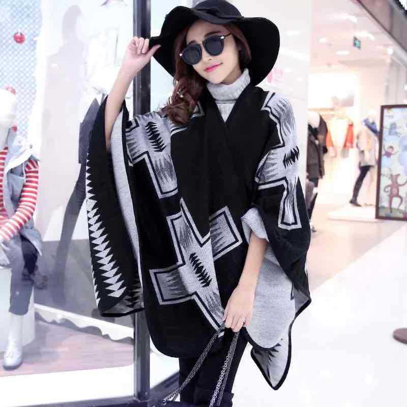2016 Super Thick Warm Winter Women Scarf & Shawl Cashmere Scarf Female Dual Slit Cloak Hand Knitting Open Fork Geometry Poncho