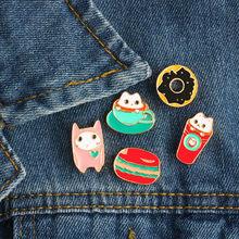 3 ~ 6 Pcs/set Kartun Kucing Kelinci Domba Tanaman Mawar Buah Kaktus Hamburger Pizza Bros Enamel Pin Lencana Bros untuk Wanita(China)