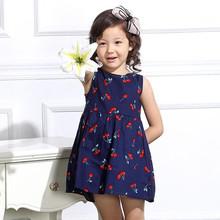 2017 Cherry Print Mon Big Girls Dress Summer Baby Teenage Dress Child Sleeveless Kids Dresses For Girls Party Clothes JW1010-2(China (Mainland))