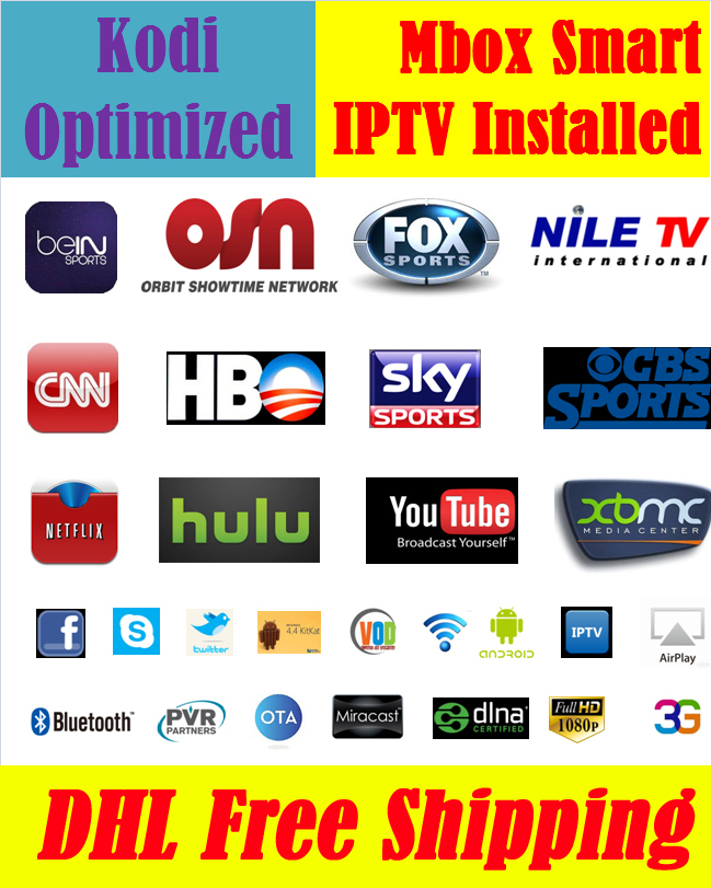 Mbox Smart with 1 Year Free YIPTV Arabic Europe French UK Spain IPTV KODI Optimized 500 Live TV +100,000 Movies Smart TV Box(China (Mainland))