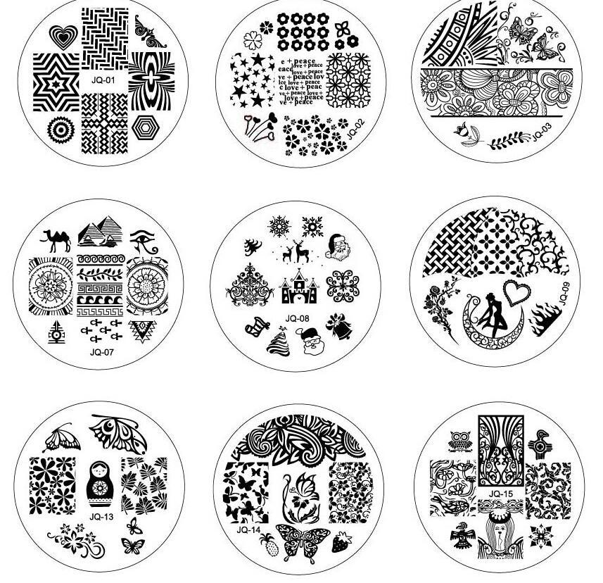 Гаджет  1 Piece 75 Design for choose 5.5cm Round JQ Series Polish Stamping Manicure Image Nail Art Templates Image Stamp Plates #JQ01-75 None Красота и здоровье