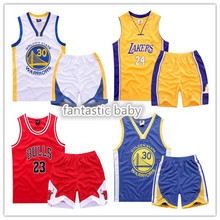 63 Kids boys Summer suits fashion Basketball sets clothes Jersey Mesh Costume T-shirt+pant youth 5-14year sport 23 Stephen Curry(China (Mainland))