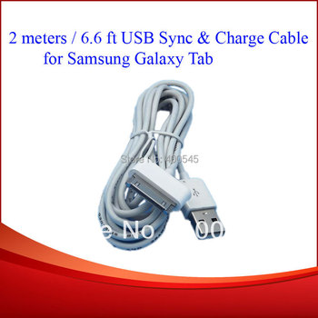 2m USB Sync Charger Cable adapter cabo kabel for Samsung Galaxy Tab 2 10'' P1000 P7300 P7310 P7500 P6800 P7510