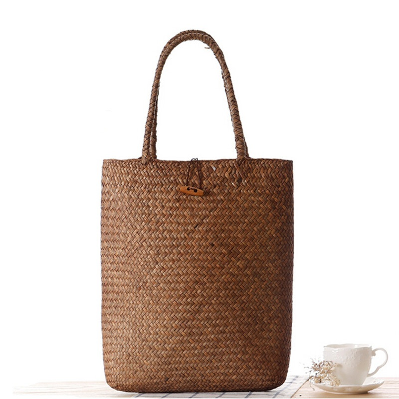 2016 New Beach Bag for Summer Big Straw Bags Handmade Woven Tote Women Kintted Handbags Designer Vintage Shopping Shoulder Bags(China (Mainland))