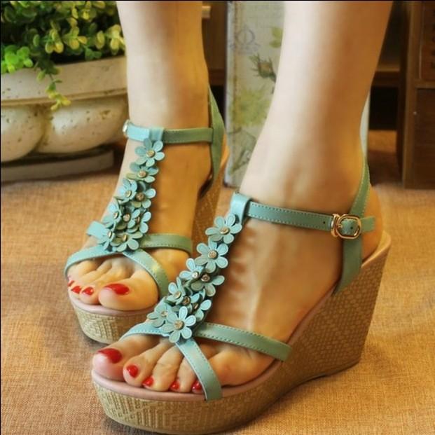 2015 summer genuine leather female sandals flower elegant gentlewomen shoes high platform wedges platform sandals women's shoes