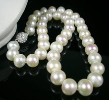 "18"" Rare Natural 11-12mm AA+southseA  white pearl necklace 100% (China (Mainland))"