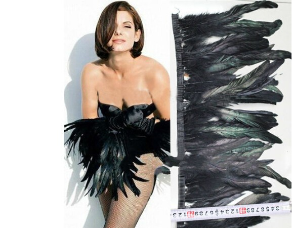 Fringe of Black-dyed 2 Meters/lot Trim 1/2 BRONZE ROOSTER FEATHER BRAND NEW Height 20cm(China (Mainland))