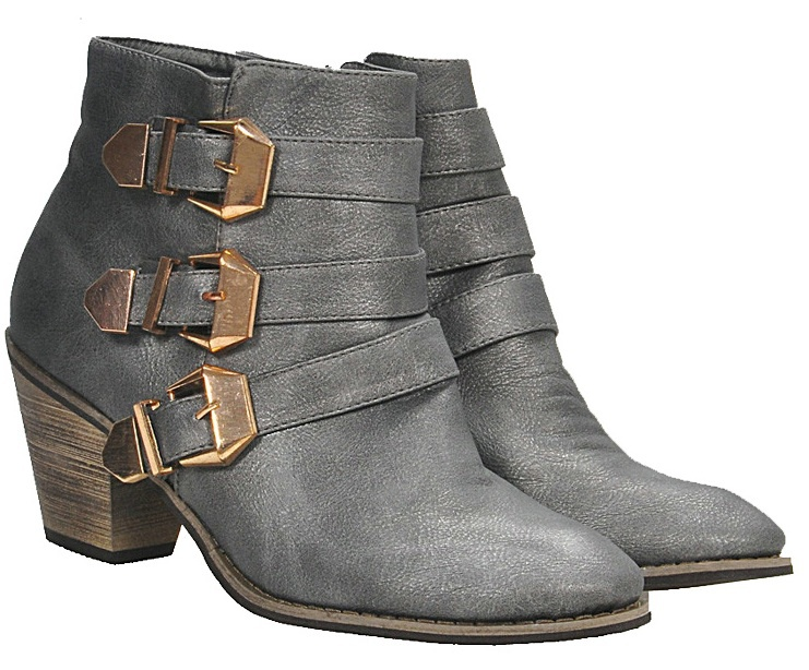 Pointed toes Thick Heel Metal buckles Zipper Anti skid Discolor Martin boots Women's Booties