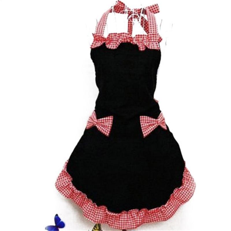 New Cute Bib Apron Dress Flirty Vintage Kitchen Women Bowknot with Pocket Gift(China (Mainland))