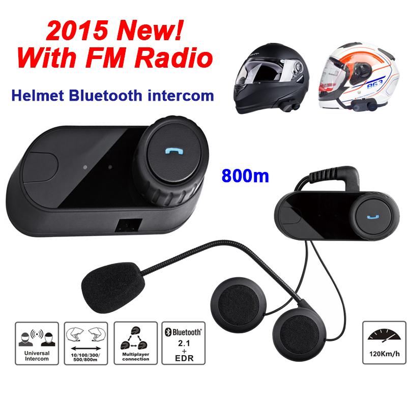 800m Waterproof Motorcycle Helmet Bluetooth Intercom Headset +FM Radio BT Interphone TOM-VB(China (Mainland))