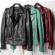 2016 Factory Europe autumn peppers leather female short slim coat sheep leather jacket Motorcycle Jacket women tide short coat(China (Mainland))